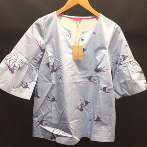 NWT Joules Leya Top With Fluted Sleeves